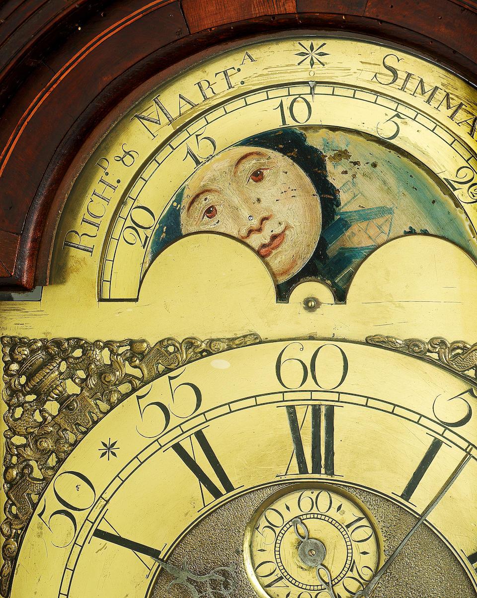 A rare mid 18th century mahogany longcase clock George Felton, Bridgenorth, but also signed for Richard & Martha Simmons 1754