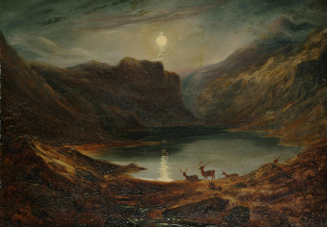 John Giles (British, 1801-1870) 'Loch Turret (moonlight)' 9 1/2 x 13 3/8 in. (24 x 34 cm)