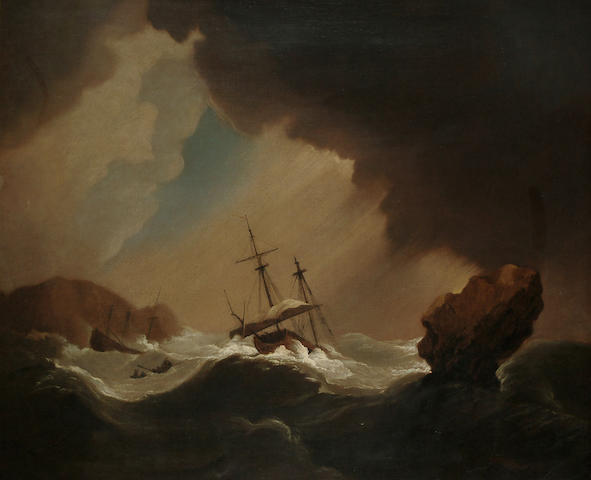 Follower of Willem van de Velde, 18th Century A shipwreck and a rowing boat in a squall off a rocky coastline, 25 1/4 x 30 1/4 in. (64 x 77 cm)