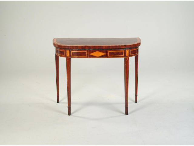 A George III mahogany and satinwood banded card table