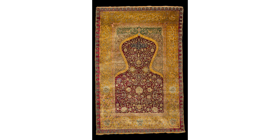 A silk and metal thread Zareh Penyamin Kum Kapi prayer rug Istanbul, 5 ft 7 in x 3 ft 10 in (170 x 117 cm)