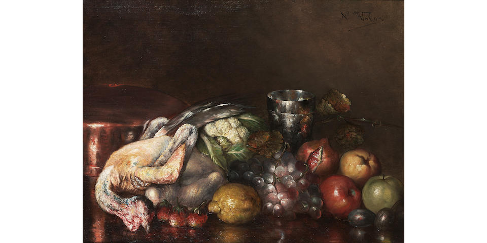 Nicolaos Wokos (Greek 1861-1902) Still life with game and fruit 55 x 71 cm. (21 3/4 x 28 in.)