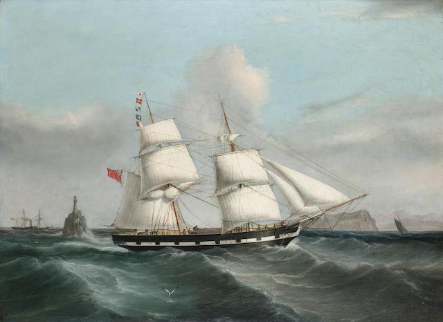 Joseph Heard (British, 1799-1859) The Brig 'Martha' passing the Fastnet Rock, homeward bound for Liverpool 66 x 91.4cm. (26 x 36in.)