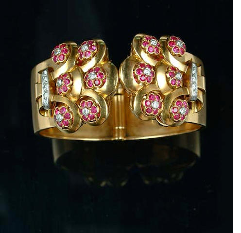 A ruby and diamond bangle, by Bulgari,