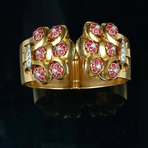 A ruby and diamond bangle, by Bulgari,