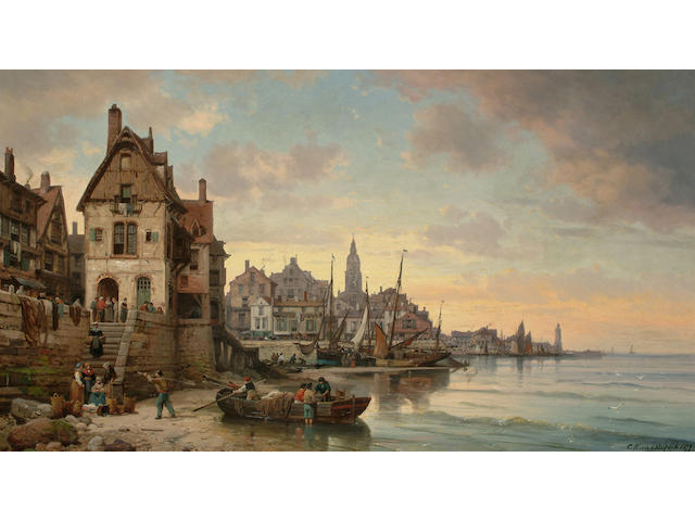 Charles Euphrasie Kuwasseg (French 1838-1904) A busy French harbour scene, 22 x 39 in. (56 x 98.8 cm.)