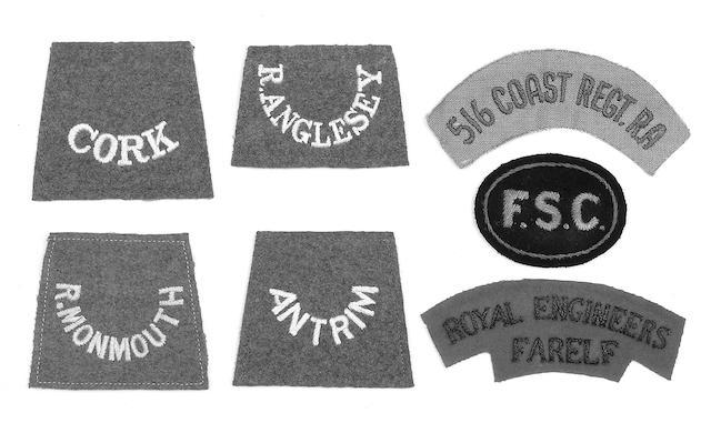 WWI cloth slip on shoulder titles