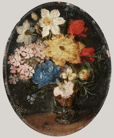 Jan Brueghel the Younger (Antwerp 1601-1678) Narcissi, chrysanthemums, roses, forget-me-knots, 9.5 x 7.7 cm. (3¾ x 3 in.) unframed