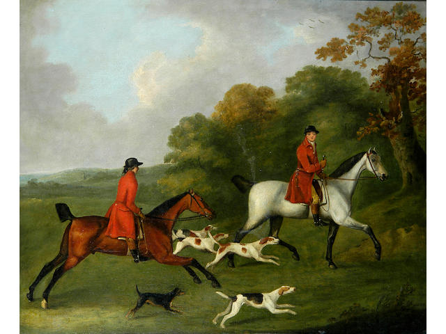 John Nott Sartorius (1759-1828), Two huntsmen riding with hounds, (J Lambert Esq of Shropshire), 61cm x 74cm.