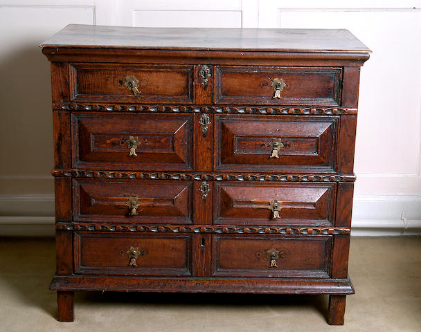 A late 17th Century oak chest,