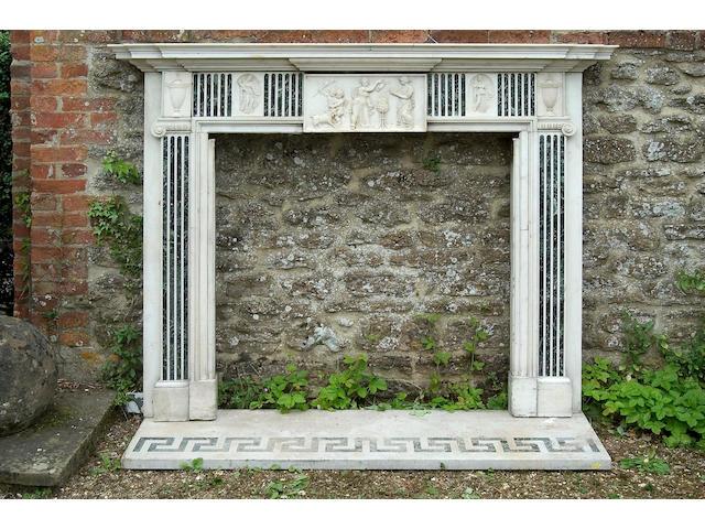 A George III Carrara marble chimneypiece,