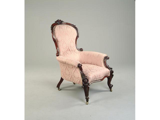 A Victorian mahogany framed armchair
