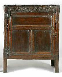 A part late 17th Century oak cupboard,