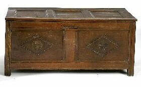 A 17th Century oak coffer,