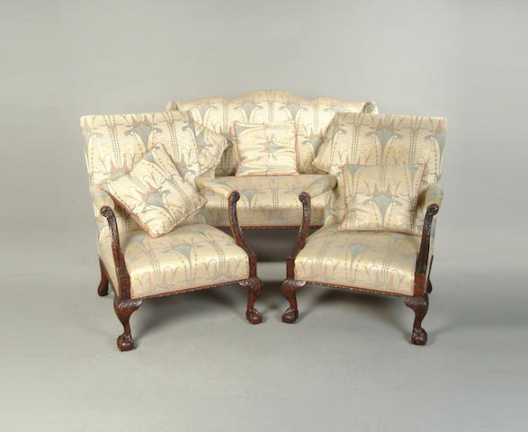 A George III style mahogany framed three pieces suite