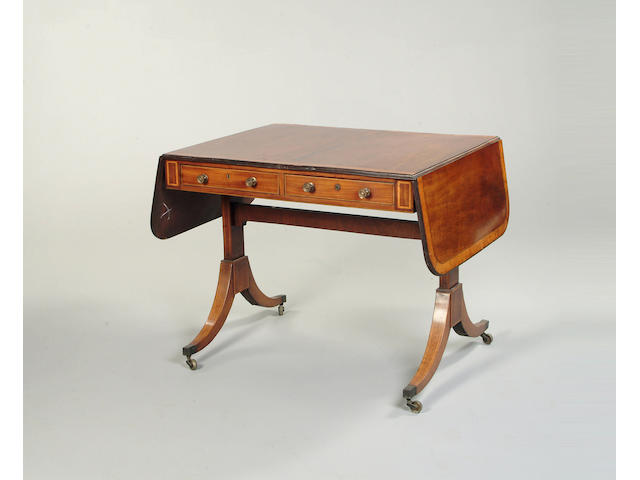A 19th century mahogany and satinwood crossbanded sofa table