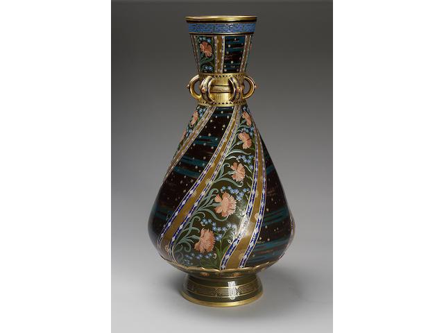 A Minton Pâte-sur-Pâte vase by Charles Toft dated 1880