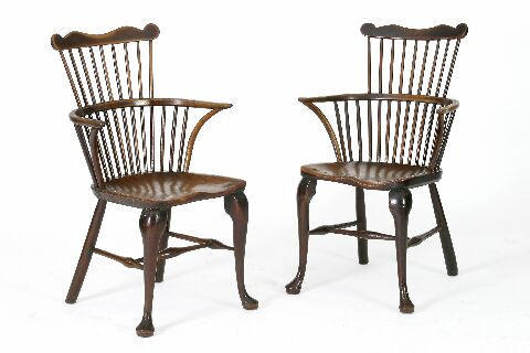 A very near pair of mid 18th Century ash Windsor armchairs, Thames Valley,