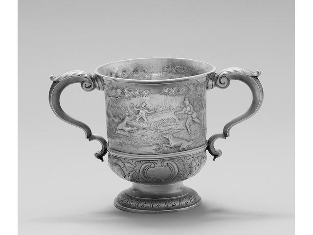 An 18th Channel Islands silver two handled cup, stamped twice with maker's mark LC below a crown, unknown, Jersey circa 1765,