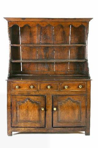 An early 18th Century oak high dresser, Denbighshire, North Wales,