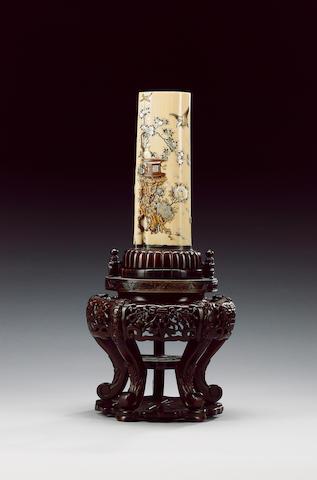 An ivory tusk vase,