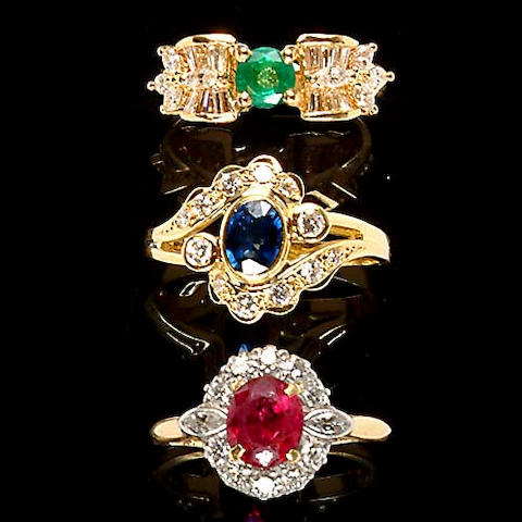Three gemset rings,
