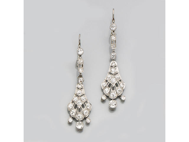 A pair of early 20th century diamond earpendants