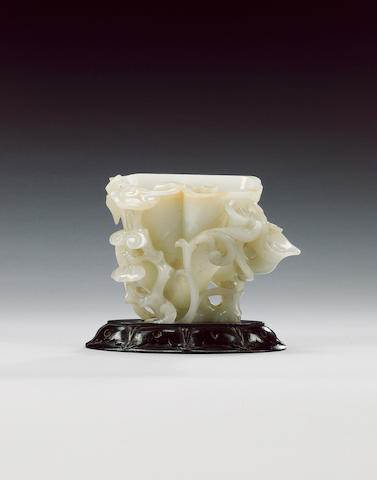 A pale celadon/almost white jade of libation-cup form,