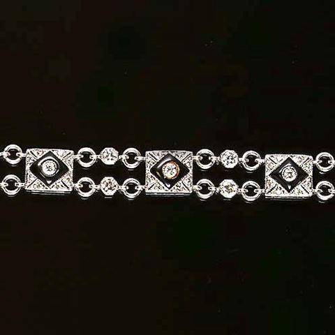 A onyx and diamond bracelet
