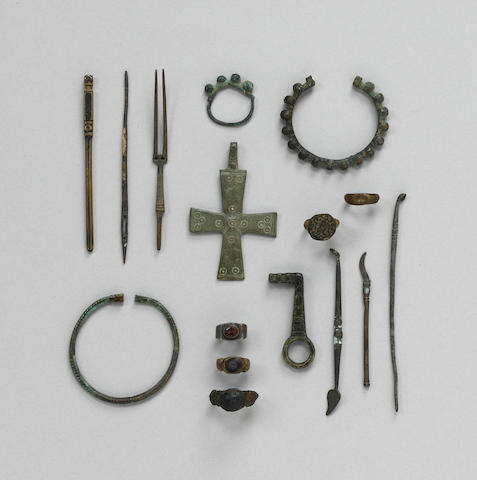 A miscellaneous group of bronzes including 21 rings, 13 bangles and earrings, 15 fittings and 1 Byza