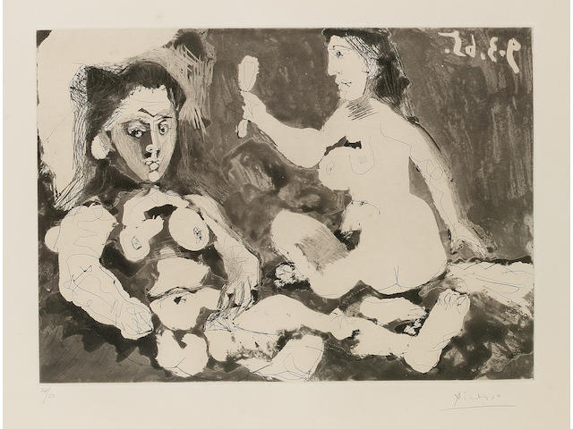 Pablo Picasso Femmes nues au Miroir Aquatint and drypoint, 1965, on thick cream wove, with margins, signed and numbered 27/50 in pencil; faint time staining, three minor fox marks,  unexamined out of the frame, 265mm x 370mm (10 1/3in x 14 1/2in)(PL)