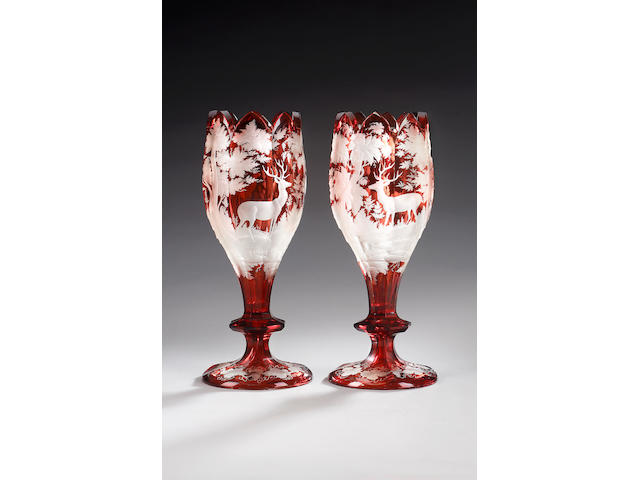 A pair of Bohemian ruby flash vases, circa 1870,