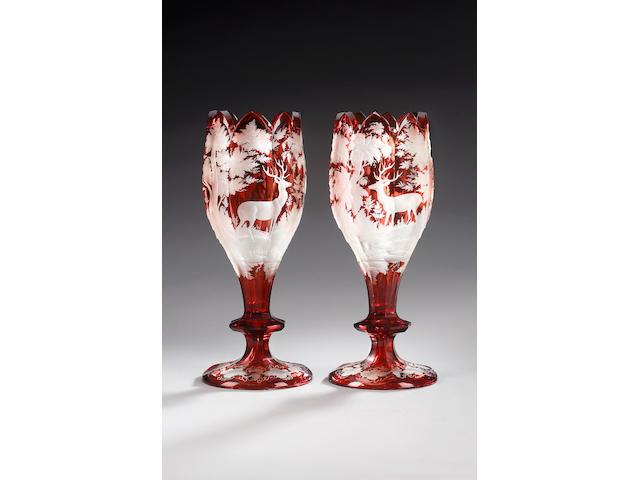 A pair of Bohemian ruby flash vases, circa 1870,