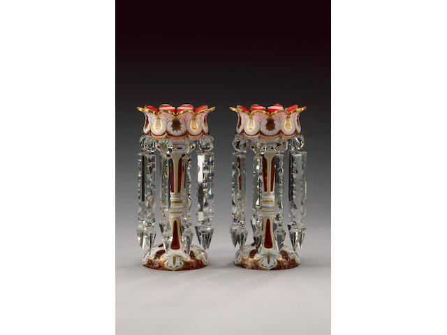 A pair of Bohemian ruby overlay lustres, late 19th century,