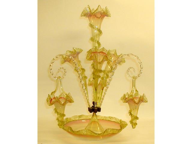 A large vaseline glass epergne,