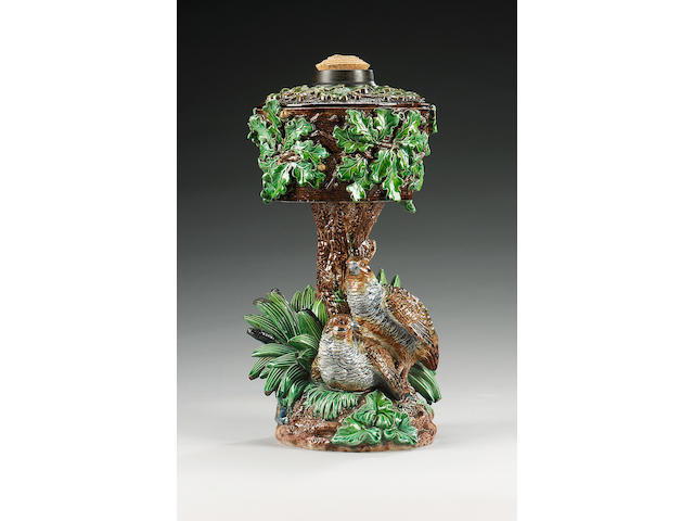Majolica oil lamp with birds