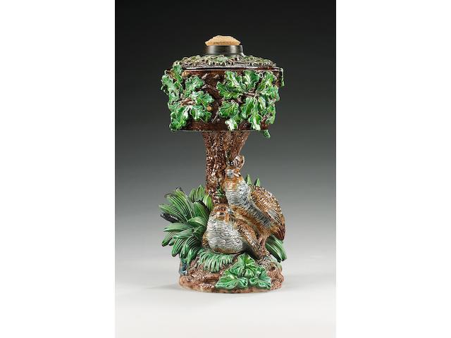 A Hugo Lonitz majolica oil lamp, late 19th century,