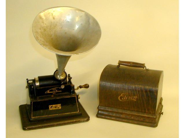An Edison Gem phonograph,