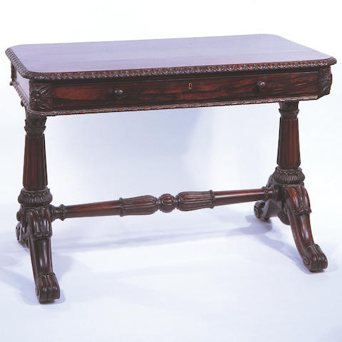 A William IV rosewood library table,