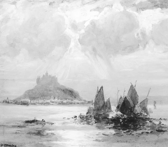 Garstin Cox St Michael's Mount with fishing boats in the foreground, signed oil on board, 50 x 60cm