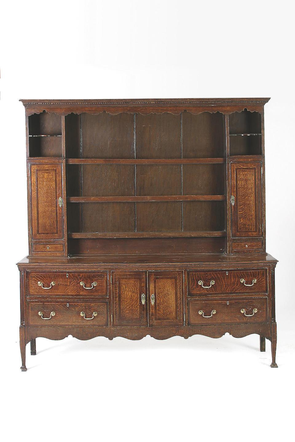 A late 18th Century oak high dresser