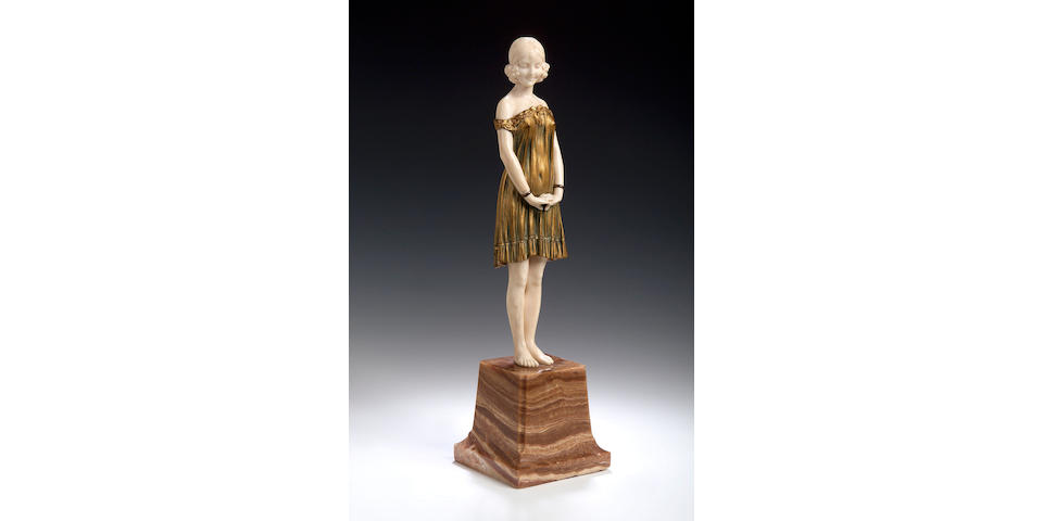 D Chiparus, ivory adn gilt bronze figure of a girl