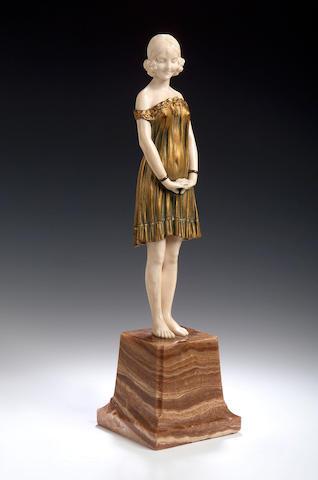 D Chiparus, ivory adn gilt bronze figure of a girl