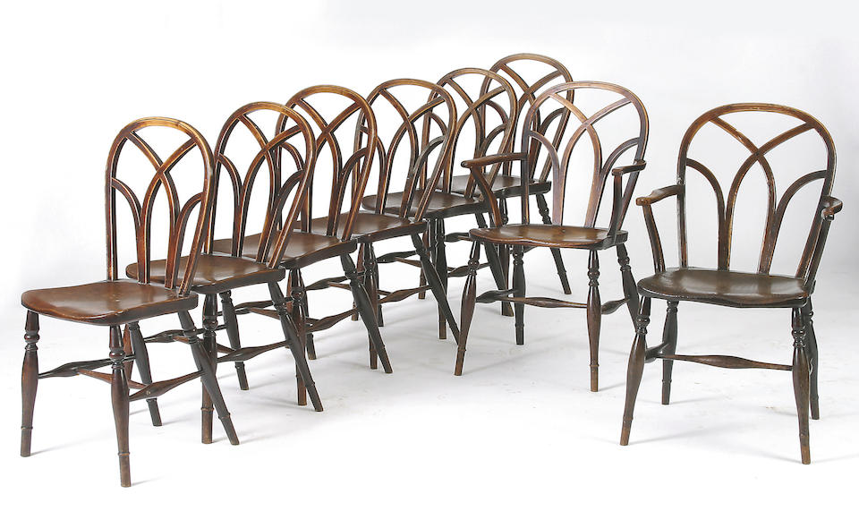 A harlequin set of eight 19th Century Windsor chairs,