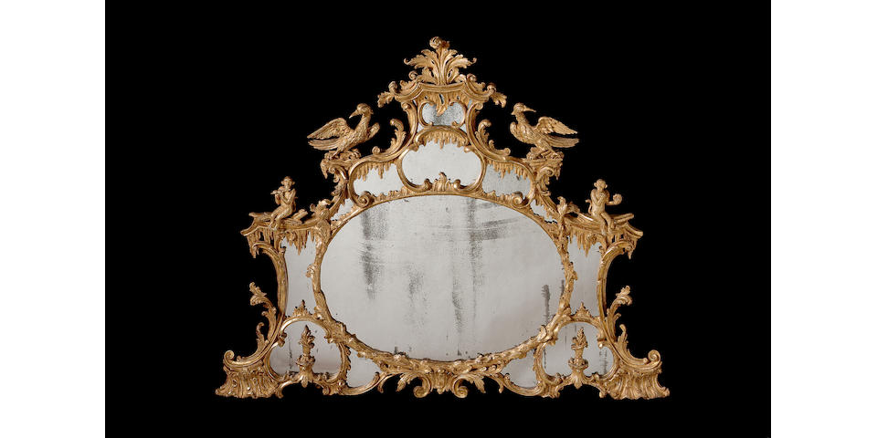 A good George III style carved giltwood overmantle