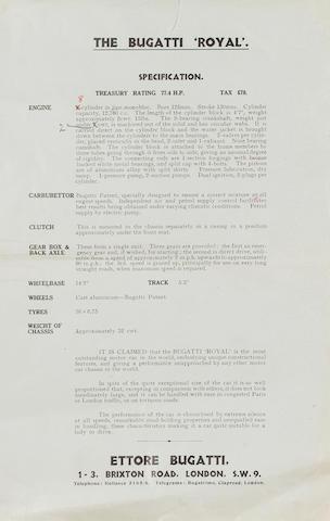 A rare Bugatti Royale specification sheet,