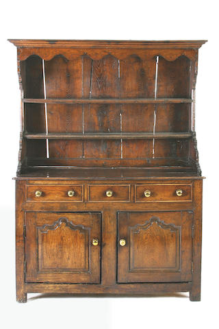 An early 18th Century oak high dresser, Denbighshire, North Wales,