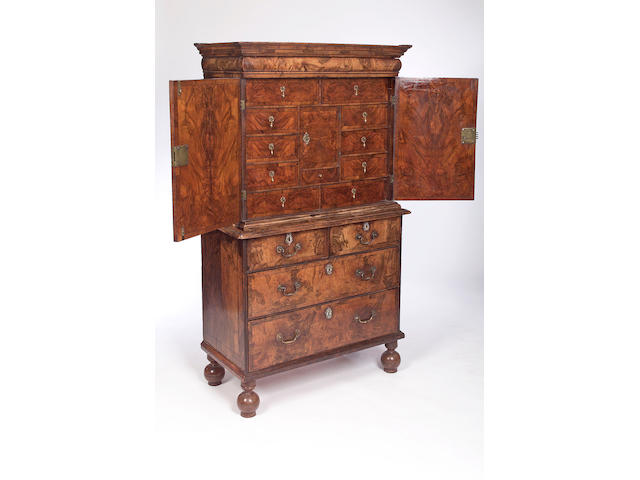 A William and Mary and later walnut Cabinet on Chest,