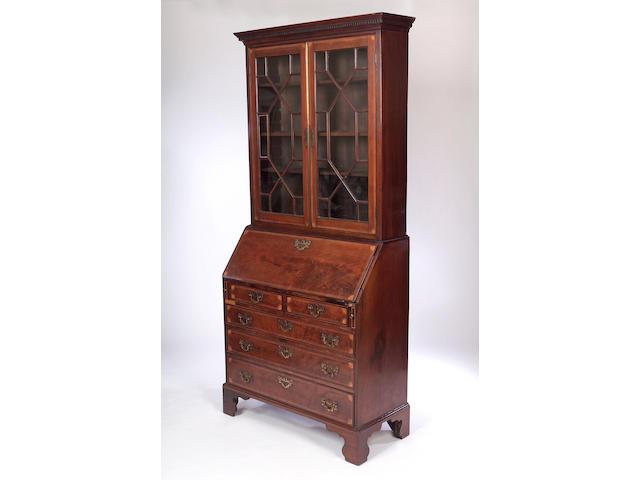 A 19th Century mahogany and inlaid Bureau Bookcase,