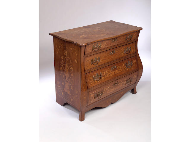 An 18th Century or later Dutch oak and marquetry inlaid Bombe Chest of Drawers,